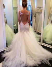 Amazing See Through Back Romantic Sexy Lace Wedding Dress Mermaid Wedding Dresses Vestido De Noiva Robe De Mariage 2015 MS102